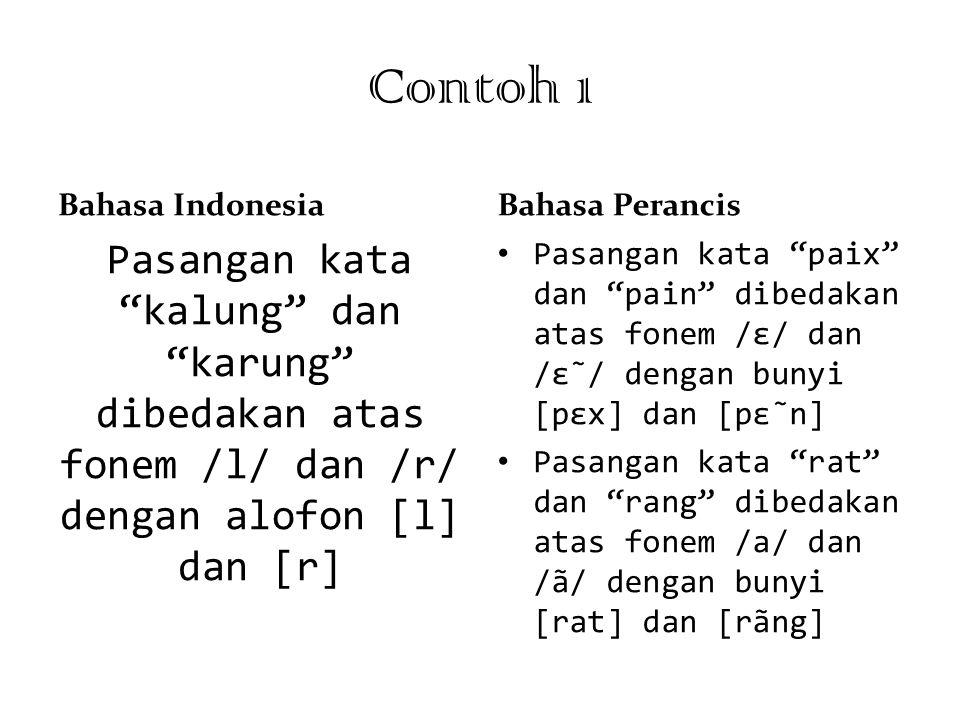 Contoh 1 Bahasa Indonesia. Bahasa Perancis. Pasangan kata kalung dan karung dibedakan atas fonem /l/ dan /r/ dengan alofon [l] dan [r]